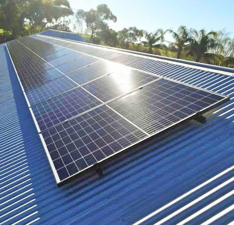 Solar panes on tin sloping tin roof