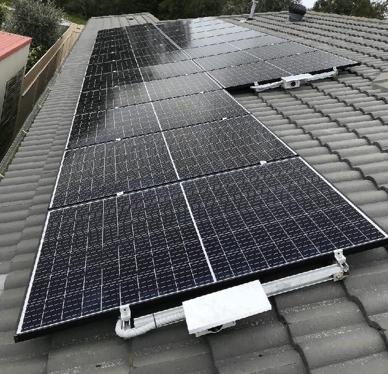 Solar panes on tiled roof