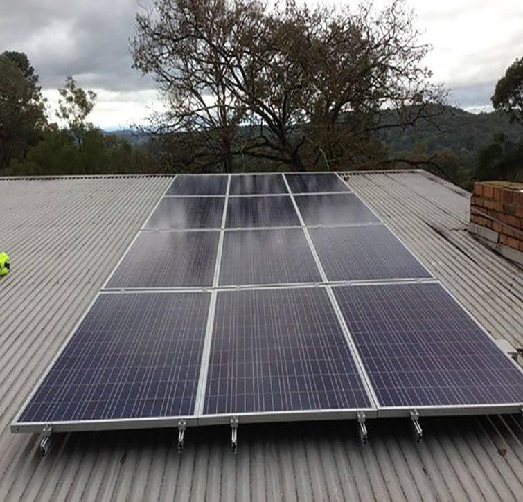 solar panels on iron roof
